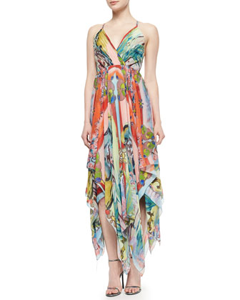 Orly Cross-Back Printed Chiffon Dress