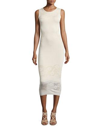 Stila Smooth/Floral-Pointelle Knit Dress