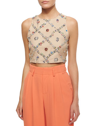 Kesten Crop Top & Lola Floral-Print Maxi Skirt