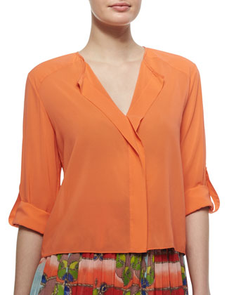Open-Placket Stretch-Silk Blouse