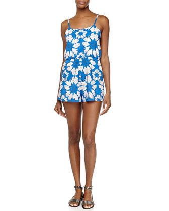 Floral-Print Flutter Short Jumpsuit