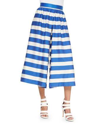 High-Waist Striped Pleated Culottes