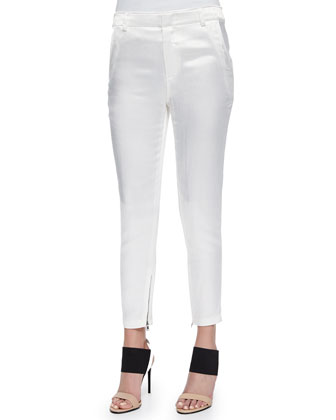 Zipper-Cuff Satin Ankle Pants