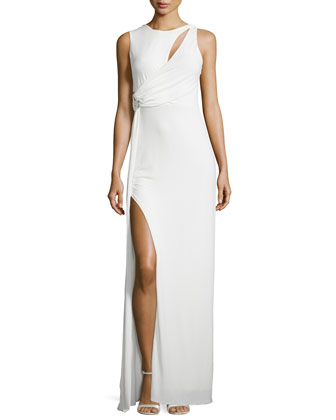 Sleeveless Draped Jersey Gown