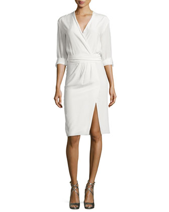Tristan Poplin Faux-Wrap Dress