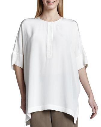 Silk Dolman-Sleeve Tunic, Petite