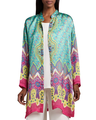 Allover Print Silk Jacket, Women's