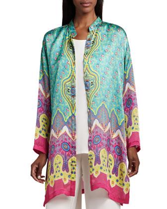 Allover Print Jacket, Longer Silk Tank & Wide-Leg Pants