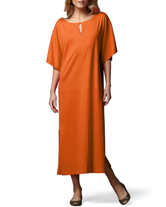 Keyhole-Front Long Dolman Dress, Women's