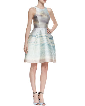 Seascape-Print Iridescent Fit-And-Flare Dress