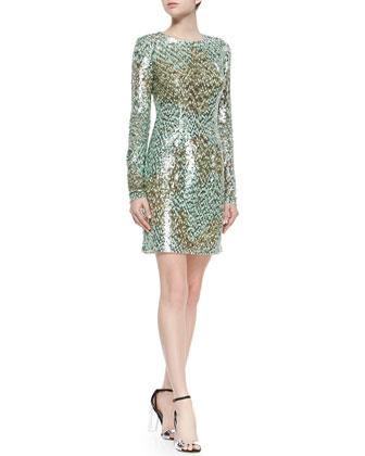 Long-Sleeve Melange Sequin Sheath Dress, Mint