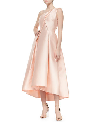One-Shoulder Sculpted Satin Gown, Petal
