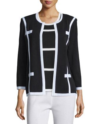 Milano Jacket, Striped Tank & Boot-Cut Pants, Petite