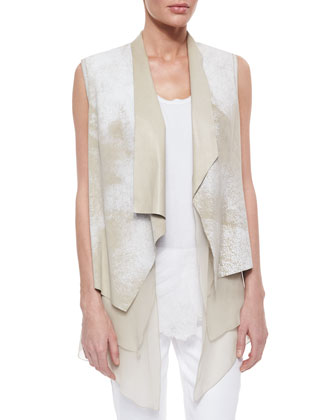 Betsy Leather Draped Hanky Hem Vest