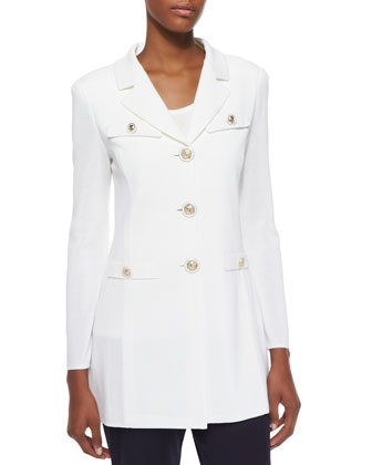 Dressed Up Button-Front Jacket, White, Petite