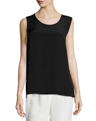 Long Silk Crepe Tank, Women's