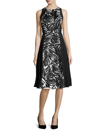 Judy Stretch-Knit Palm-Print Dress