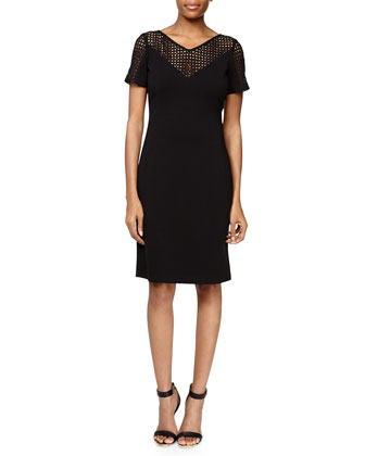 Lace-Yoke Punto Milano Dress