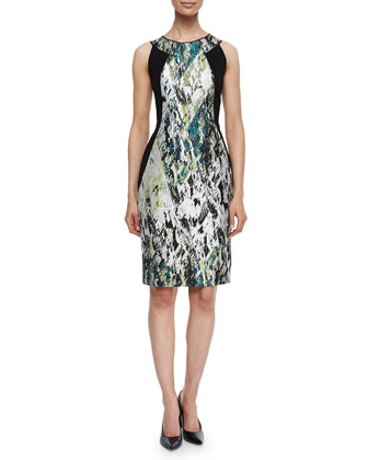 Alora Printed & Paneled Sheath Dress
