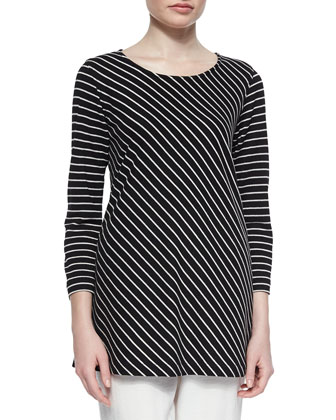 Bias-Striped Knit Tunic