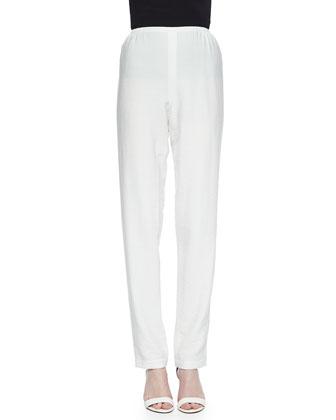 Cabo Crinkle Straight-Leg Pants, White, Petite
