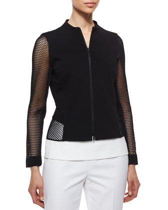 Two-Zip Mesh-Sleeve Jacket