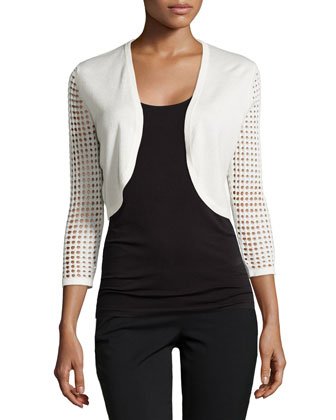 Long-Perforated-Sleeve Shrug