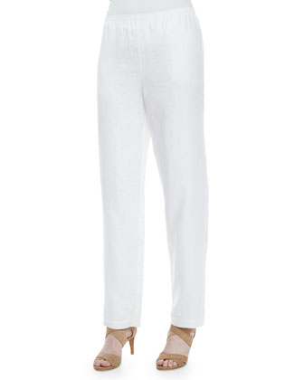 Straight-Leg Linen Pants, White, Women's