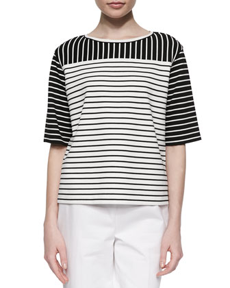 Mix-Striped Half-Sleeve Blouse