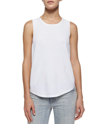 Candice Rib-Knit Tank, White