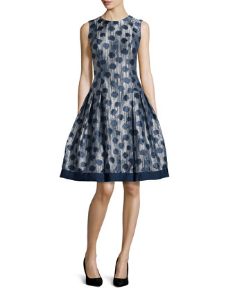 Polka-Dot Drop-Waist Dress, Midnight