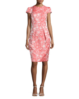 Floral Jacquard Sheath Dress, Coral