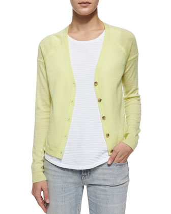 Gia Cashmere Button-Front Cardigan, Lime