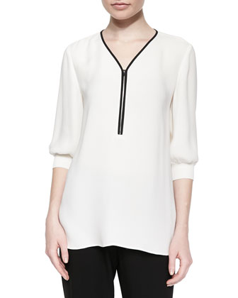 Tiara 3/4-Sleeve Zip-Front Blouse