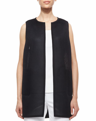 Tilly Long Mesh Vest, Scoop-Neck Tank & Bleecker Cropped Ankle Pants