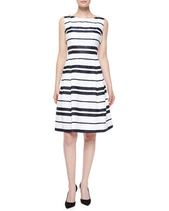 Sleeveless Striped Pleated-Skirt Dress