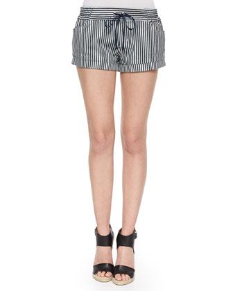 Lennos Striped Cuffed Drawstring Shorts