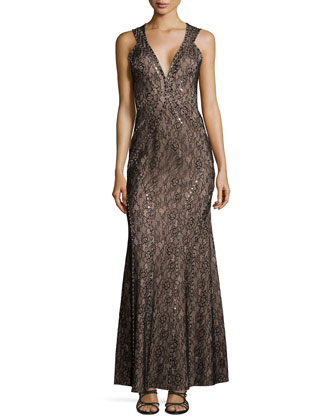 Sleeveless Lace Studded Gown