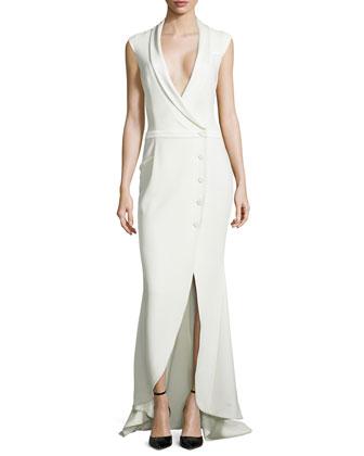 Cap-Sleeve Asymmetric-Front Crepe Gown, Swan
