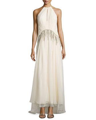 Sleeveless Draped Tassel Silk Gown, Antique Ivoire
