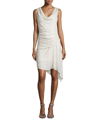 Sleeveless Sequin-Stripe Cocktail Dress, Swan/Silver