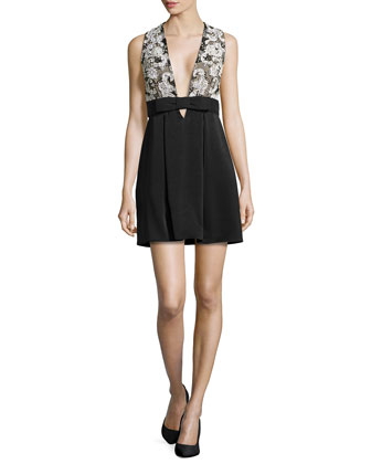 Sleeveless Paisley-Embroidered Dress, Black