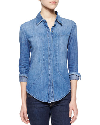 Joni Denim Shirt, Faded Ink