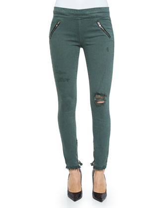 Mila Destroyed Skinny Jeans, Army Green