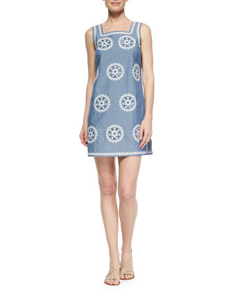 Medallion-Embroidered Chambray Dress