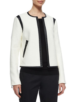 Boucle Jacket W/ Faux-Leather Trim, Embellished-Neck Silk/Cashmere Sweater ...