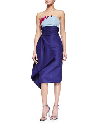 Strapless Floral-Embroidered Colorblock Draped Dress