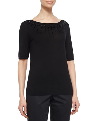 Embellished-Neck Silk & Cashmere Sweater