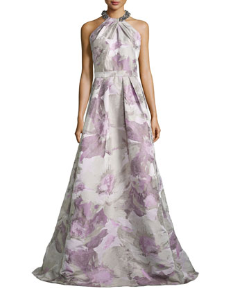 Beaded-Neck Floral-Jacquard Gown, Platinum