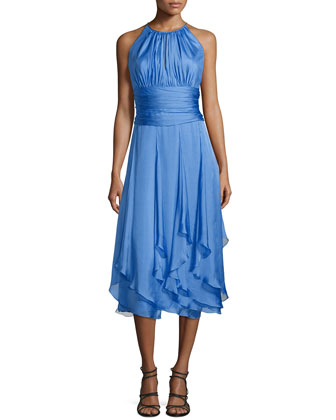 Sleeveless Ruched-Bodice Halter Dress